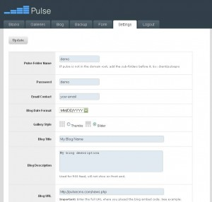 PulseCMS Settings Ausschnitt