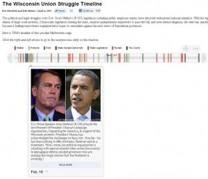 The Wisconsin Union Struggle Timeline - entwickelt mit ProPublicas Timeline Setter
